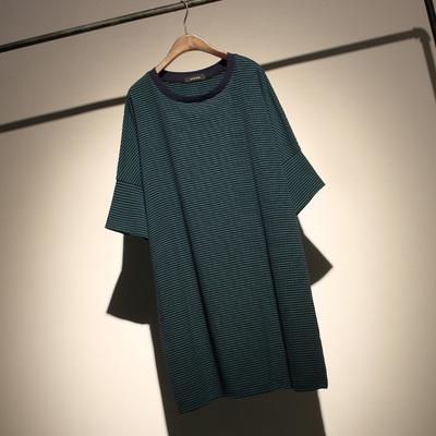哦呀苏米 撞色条纹圆领T恤女中长宽松大码五分袖T恤裙显瘦连衣裙