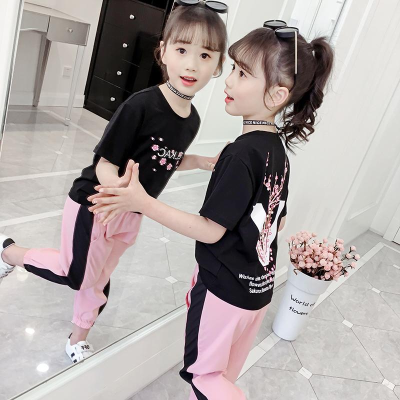 女童夏装套装2019新款儿童4夏季5洋气女孩时髦大童运动两件套8岁9