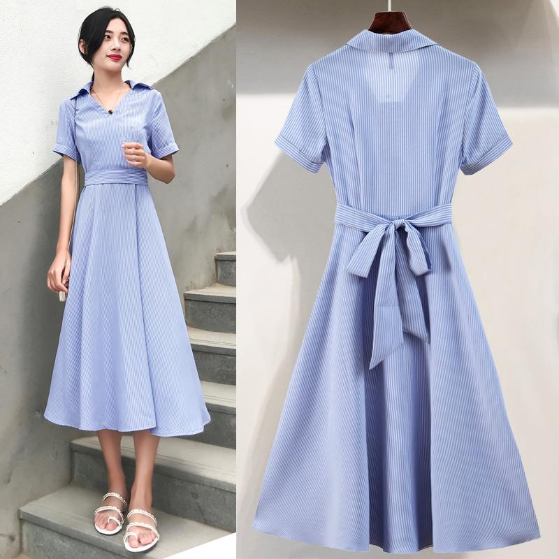 系帶條紋氣質短袖連衣裙