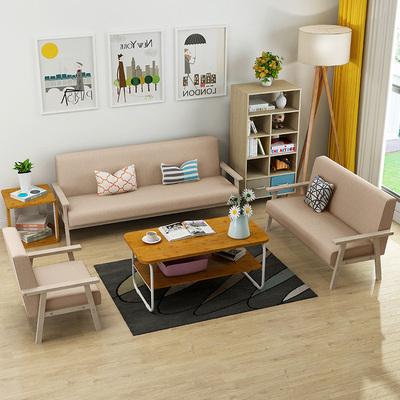 小户型简约现代布艺沙发简易办公室沙发椅出租房北欧单人三人组合图片