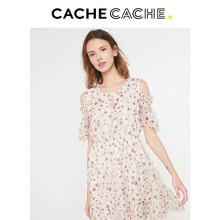 CacheCache2018年夏新款圆领露肩设计感甜美气质修身款OP连衣裙