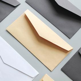 尼家 黑白日韩文具复古纯色极简无印信封 多色牛皮纸信封做旧信封