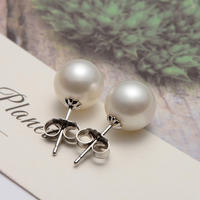 Jingrun Pearl Stud Earrings Sterling Silver/18k Gold Inlaid Freshwater Pearl Stud Earrings Simple Temperament Earring Jewelry