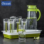 泰国OCEAN进口耐热玻璃冷水壶热水壶凉水壶家用果汁水杯茶杯托盘