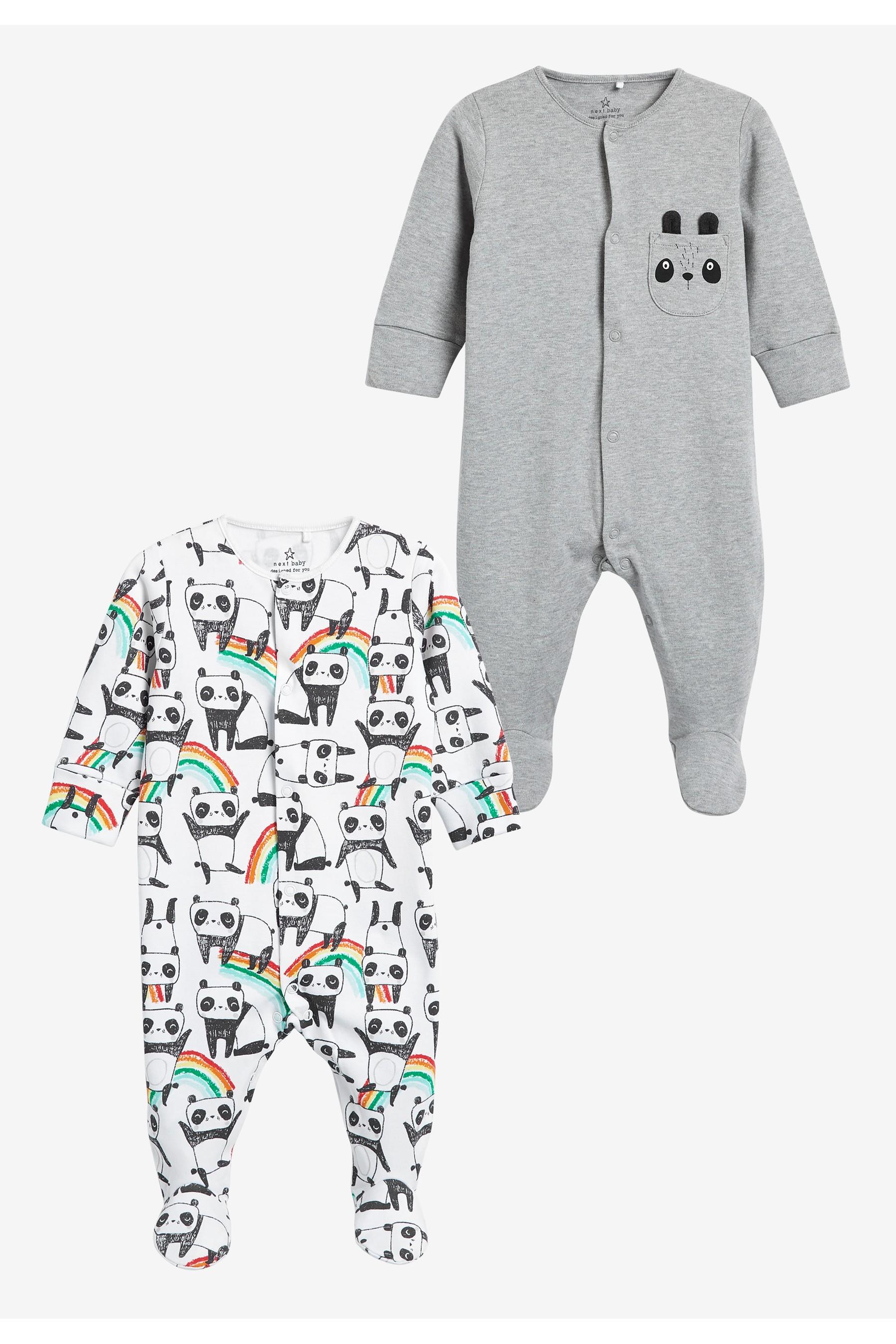 英国代购NEXT童装 19春夏款男婴宝宝棉质熊猫卡通长袖连体衣爬服