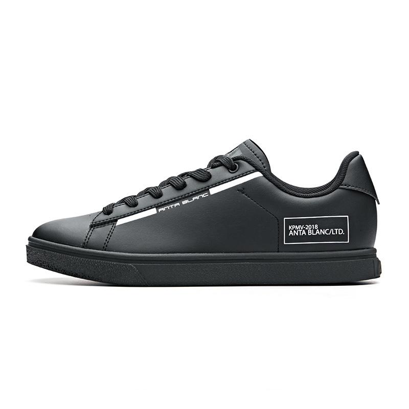 安踏女鞋板鞋2018秋季新款时尚小白鞋皮面耐磨板鞋休闲鞋12838063