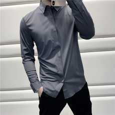 Both the visual and the version can conquer the eyeballs Micro-slim Slim long-sleeved shirt shirt male B0630
