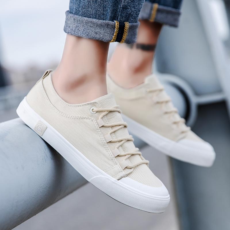 人本帆布鞋男潮流男鞋小白鞋男百搭低帮学生板鞋2019夏季休闲鞋