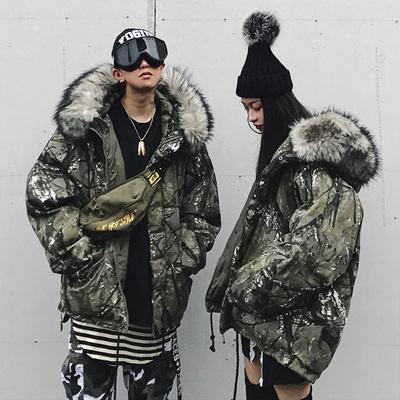 大毛领棉衣棉服树枝迷彩泼墨座山雕国潮宽松男女情侣装冬季厚外套
