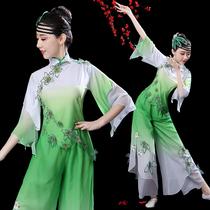 落花古典舞演出服女2018新款飘逸扇子舞中国风成人伞舞蹈秧歌服装