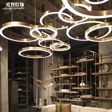 餐厅led环形吊灯后现代简约圆形客厅卧室灯创意吧台店铺装饰灯具