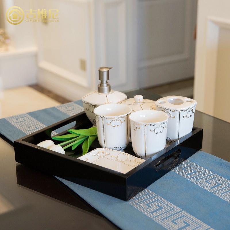美式欧式陶瓷卫浴套装漱口杯牙刷杯洗漱创意新婚浴室用品家居套件5元优惠券