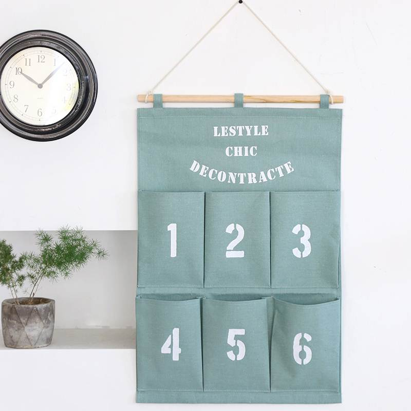 北欧简约挂袋6兜数字挂袋 棉麻布艺墙挂式收纳袋挂袋储物整理袋