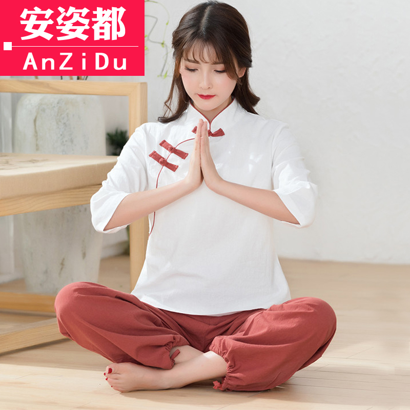 Ju Shi clothing women's suits cotton and linen tea service Zen tea ceremony wear Chinese style Chinese women's clothing Tang