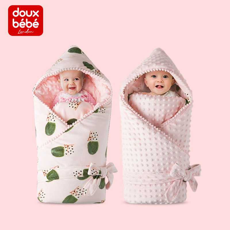 Douxbebe初生婴儿抱被秋冬加厚新生儿外出包被宝宝襁褓被产房包巾