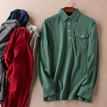 Hitzの長袖Tシャツメンズビジネスカジュアル綿のポロシャツの襟の中年の父親ロードA832