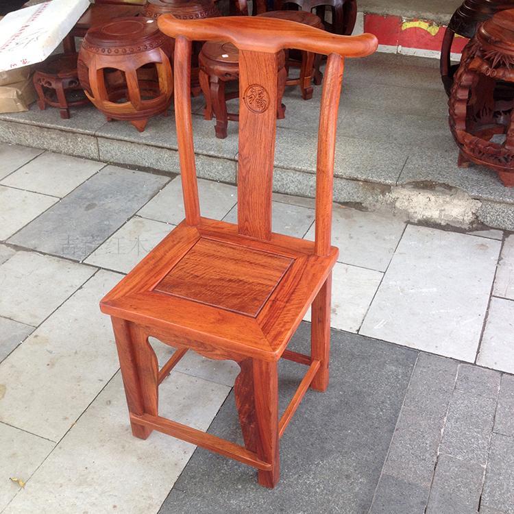 吉祥 缅甸花梨木官帽椅 大果紫檀成人靠背椅 实木餐椅 红木家具