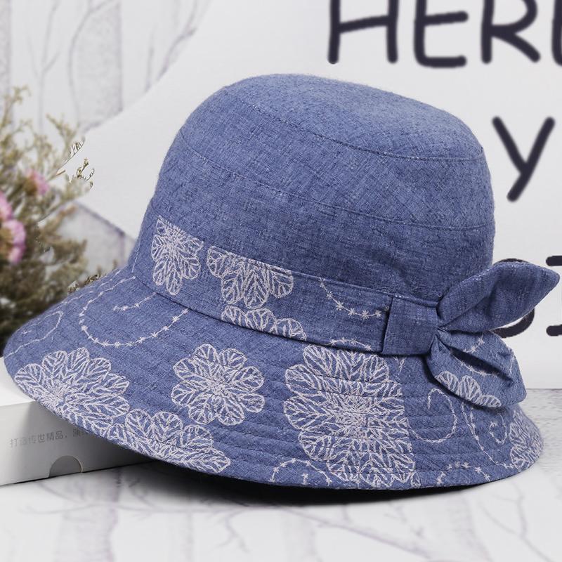 春秋季中老年人帽子女盆帽渔夫帽奶奶布帽春夏天妈妈大檐遮阳帽女