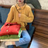 毛衣 长袖 宽松薄款 外套POLO领开衫 女潮秋季2019新款 洋气针织衫 韩版图片