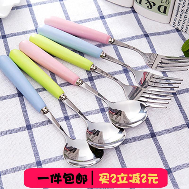 勺子叉子 304不锈钢调羹瓢羹 创意可爱韩式餐具家用长柄学生成人