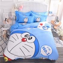 儿童地中海风格床上四件套纯棉卡通可爱男孩蓝色全棉1.2m1.5米1.8