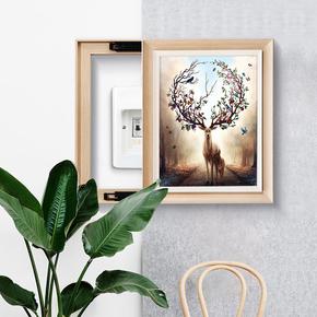 电表箱装饰画竖版竖款可推拉过道挂画现代简约电闸盒配电箱遮挡画