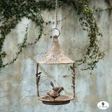 美式乡村复古铁艺鸟窝 别墅庭院悬挂式小鸟喂鸟器 花园阳台喂鸟器