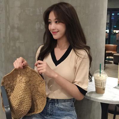 V领针织短袖T恤女装春夏2019新款韩版chic修身显瘦百搭上衣学生潮