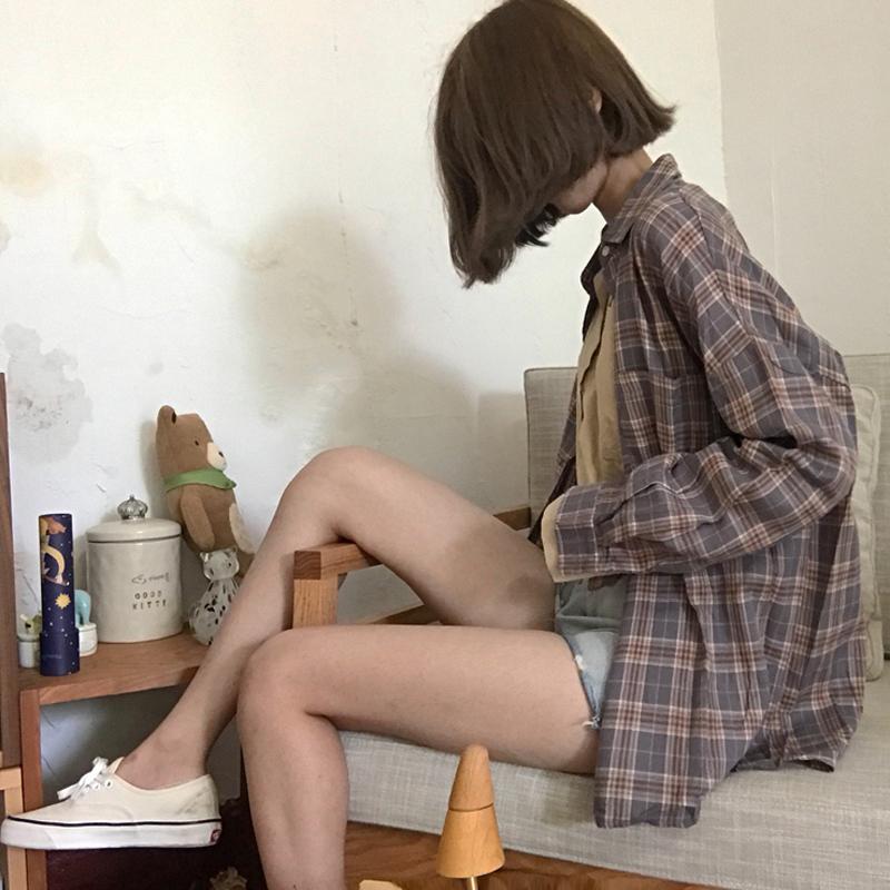 复古格纹衬衫女春夏新款韩版百搭宽松显瘦简约长袖开衫外套学生潮
