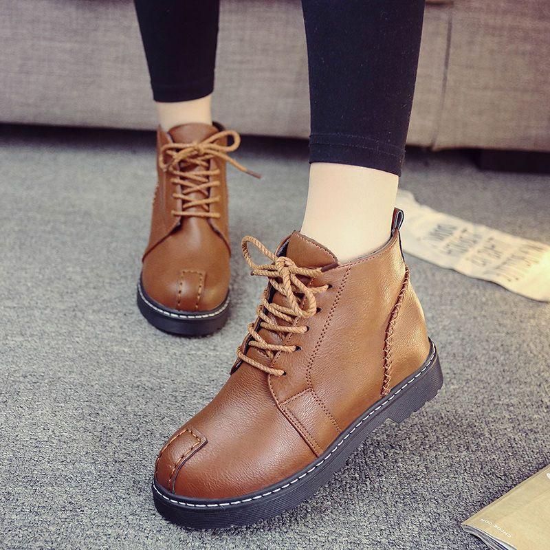 2018秋季新款马丁靴女英伦风学生韩版百搭靴子春秋女鞋短靴女靴冬