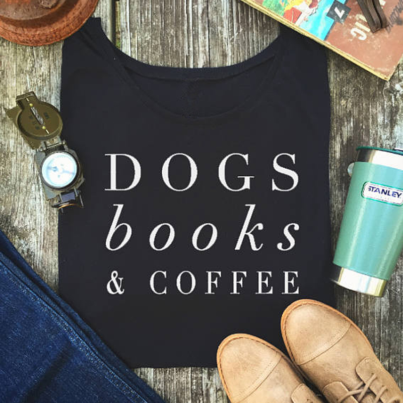 2018欧美女装夏季新款潮宽松上衣chic短袖T恤Dogs Books&COFFEE