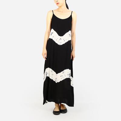 跨界原创设计自制吊带裙打底裙棉手工扎染复古吊带长裙连衣裙