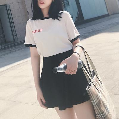 k姐自制 撞色字母T恤 夏季新款休闲短袖基础款圆领打底衫上衣女