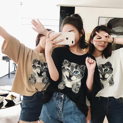 k姐自制 钉珠小猫T 三色可选新品猫咪印花宽松显瘦短袖上衣T恤女