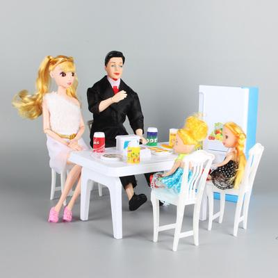 芭比娃娃过家家餐桌套装冰箱桌子厨房套装1家4口女孩公主玩具套装