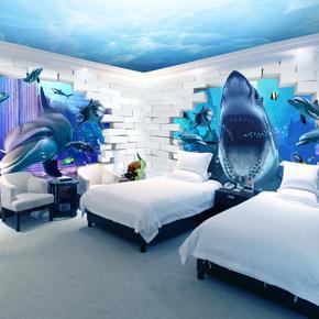 3d海底世界墙纸海洋鱼防水壁纸鲸鱼墙纸儿童房背景墙大海蓝色壁画