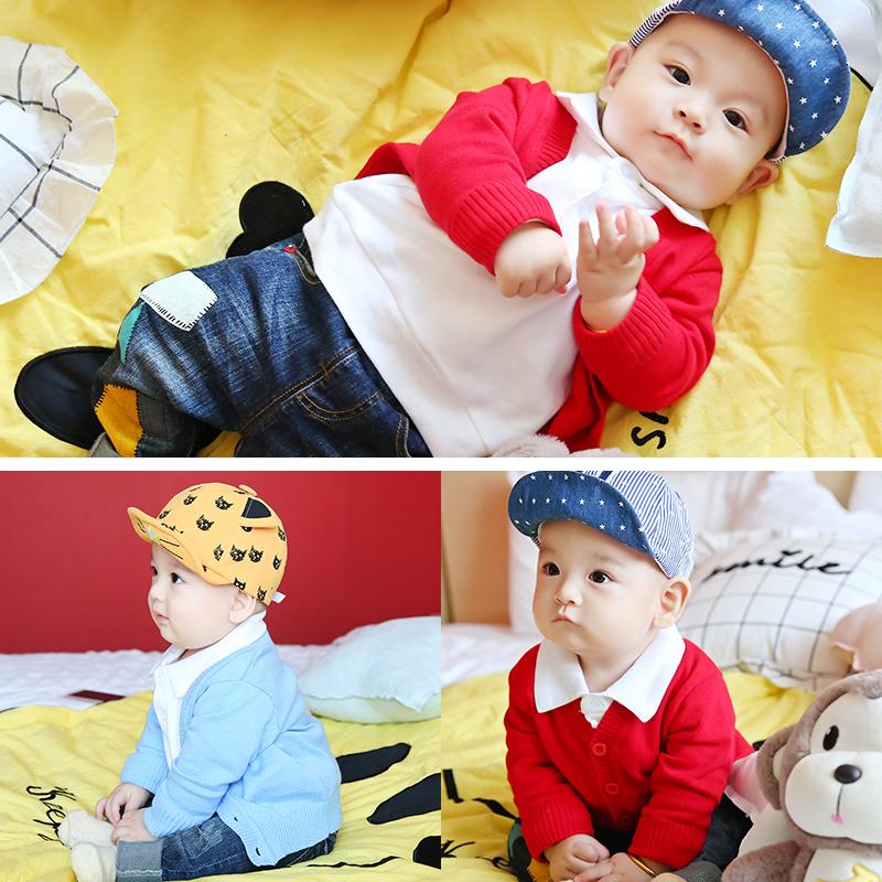 宝宝毛衣男童针织开衫纯棉外套婴儿17春款儿童韩版童装1-2-3-4岁