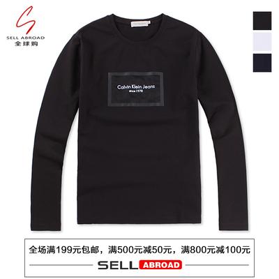 美国正品Calvin Klein CK男装新品胸前网格LOGO修身圆领长袖T恤男