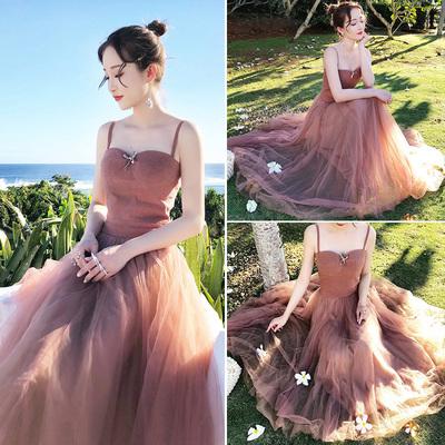夏季新款性感吊带网纱连衣裙少女心仙女裙海边旅游度假沙滩长裙仙