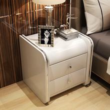 亿家达皮质床头柜时尚简约现代收纳柜子整装卧室储物柜皮艺床边柜