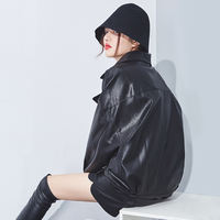Plus velvet thick leather women's jacket in the long section of the Korean version of the chic port wind Harajuku style loose leather jacket 2018 new