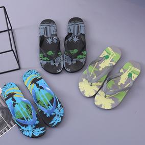 新款包邮椰树男人字拖平底夹脚户外沙滩纯色男款防滑凉拖鞋批发