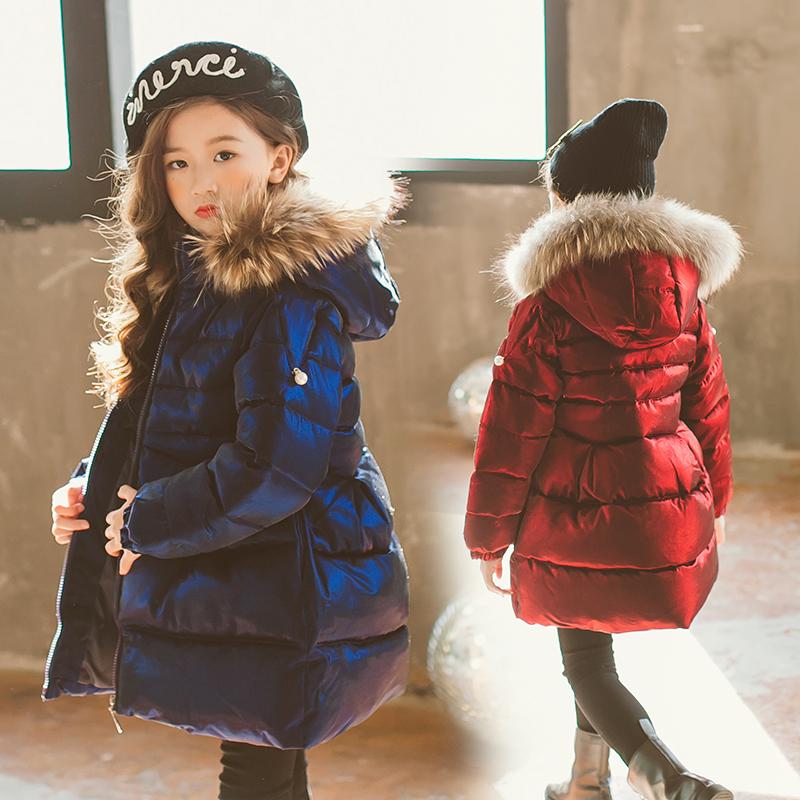 童装冬装女童棉衣2017新款韩版洋气中大童外套儿童毛领棉袄棉服潮