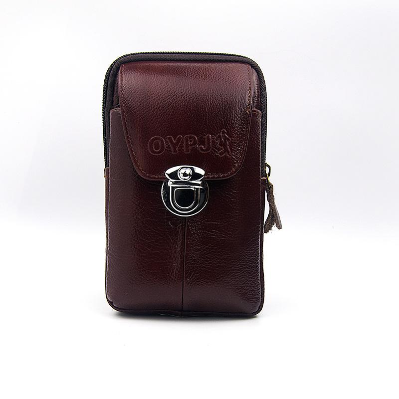 牛皮手机包男腰包竖款挂腰手机套6寸真皮手机腰包穿皮带横款5.5寸