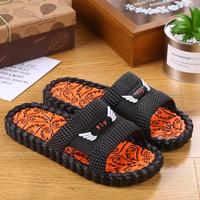 Korean version of home slippers male summer indoor non-slip home thick bottom word drag men and women soft bottom comfortable couple sandals and slippers