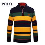 保罗正品男装Polo中高领秋冬新款全羊毛衫时尚条纹加厚立领毛衣男
