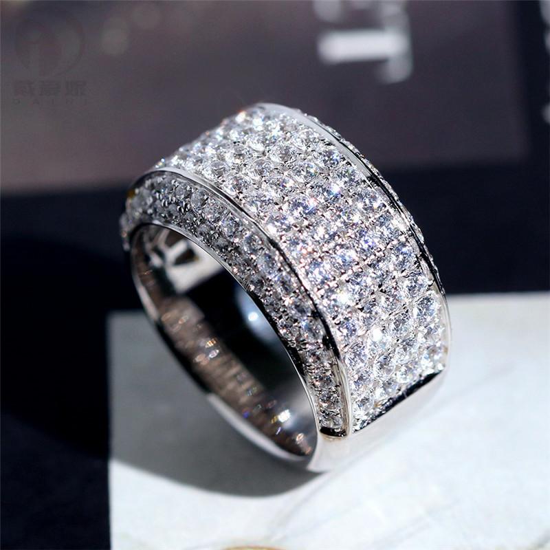 925纯银镀18K白金男戒3克拉仿真钻戒食指环男士戒指豪华大气个性图片