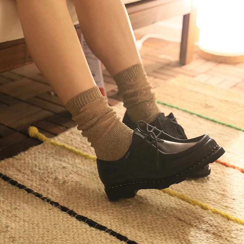 银葱堆堆袜 亮丝珠光闪闪时装潮女秋季中筒袜子 日系复古金银丝袜1元优惠券