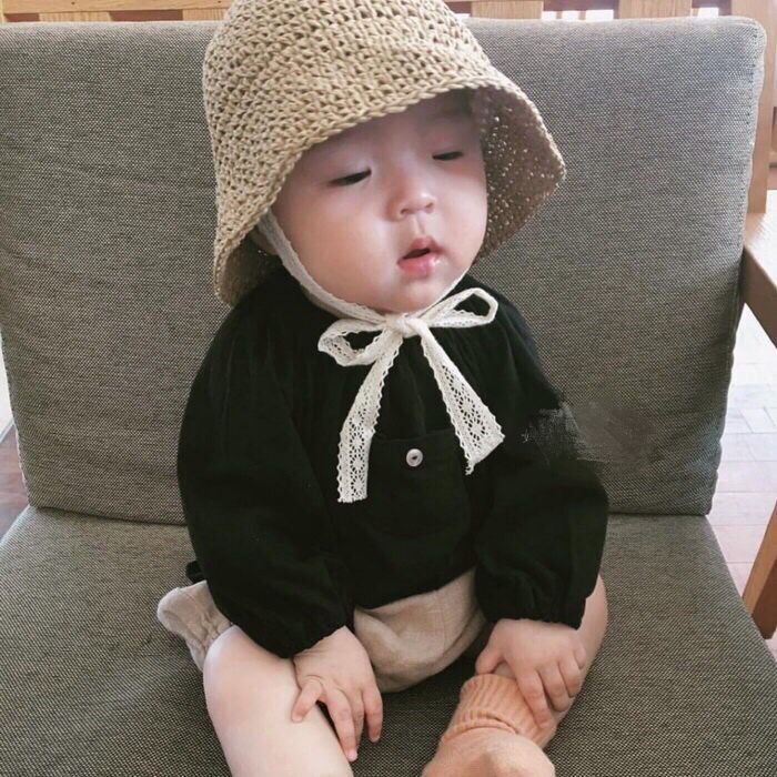 ins爆款夏款儿童草帽韩国宝宝遮阳帽防晒帽沙滩蕾丝渔夫帽子亲子