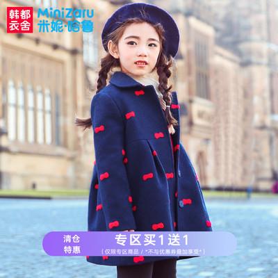 米妮哈鲁童装2019春装新款呢子褂女童洋气外套儿童加厚毛呢大衣絻